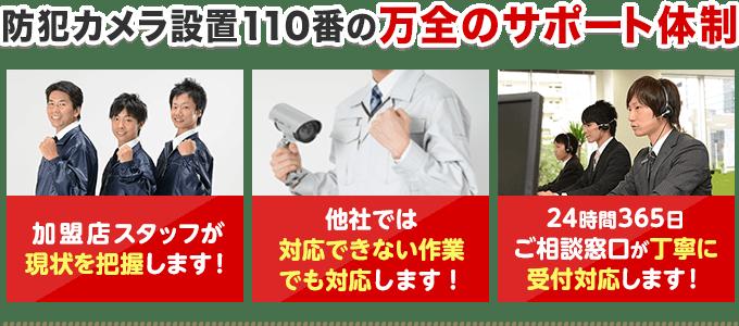 防犯カメラ設置110番の万全のサポート体制