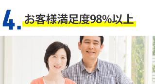 4.お客様満足度98%以上